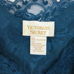 Victoria's Secret Intimates & Sleepwear - Vintage Victoria's Secret lace trimmed teal slip